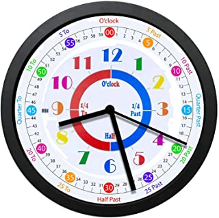 GeTJonesRiGhT Mute Child Analog Battery Operated Learning Clock,Perfect Room & Wall Decor for Classrooms, Playrooms and Ki...