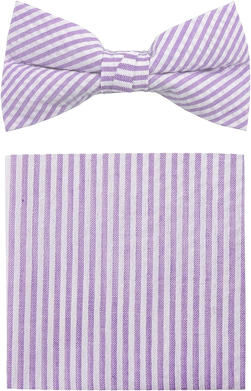 Jacob Alexander Seersucker Men's Pre-Tied Clip-On Bow Tie and Pocket Square Set