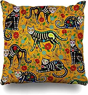 Ahawoso Throw Pillow Cover Kitty Pattern Calavera Sugar Skull Black Cats in Mexican Pets for Holiday Dia De Muertos Wildlife Decor Zippered Cushion Case 20