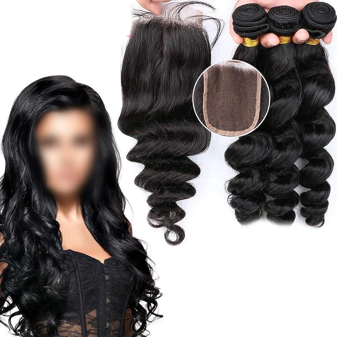 軍入り口努力するBOBIDYEE 100%リアル人間の髪ルースウェーブとレース前頭閉鎖カーリーヘアエクステンション女性のための人工毛レースかつらロールプレイングかつら (色 : 黒, サイズ : 8 inch)
