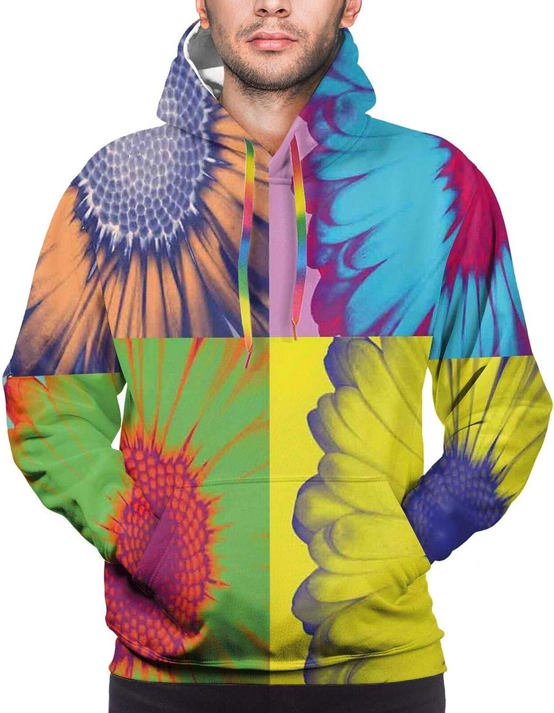 Men's Hoodies Sweatshirts,Pop Art Inspired Colorful Kitschy Daisy Flower with Hard-Edged Western Design