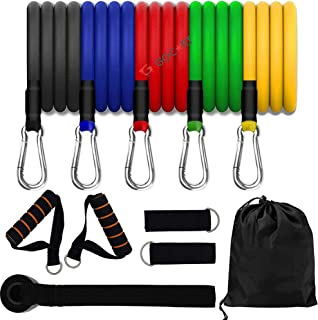 GOCART WITH G LOGO Resistance Bands, Exercise Bands Include 5 Different Levels Exercise Bands, Door Anchor, Foam Handles a...