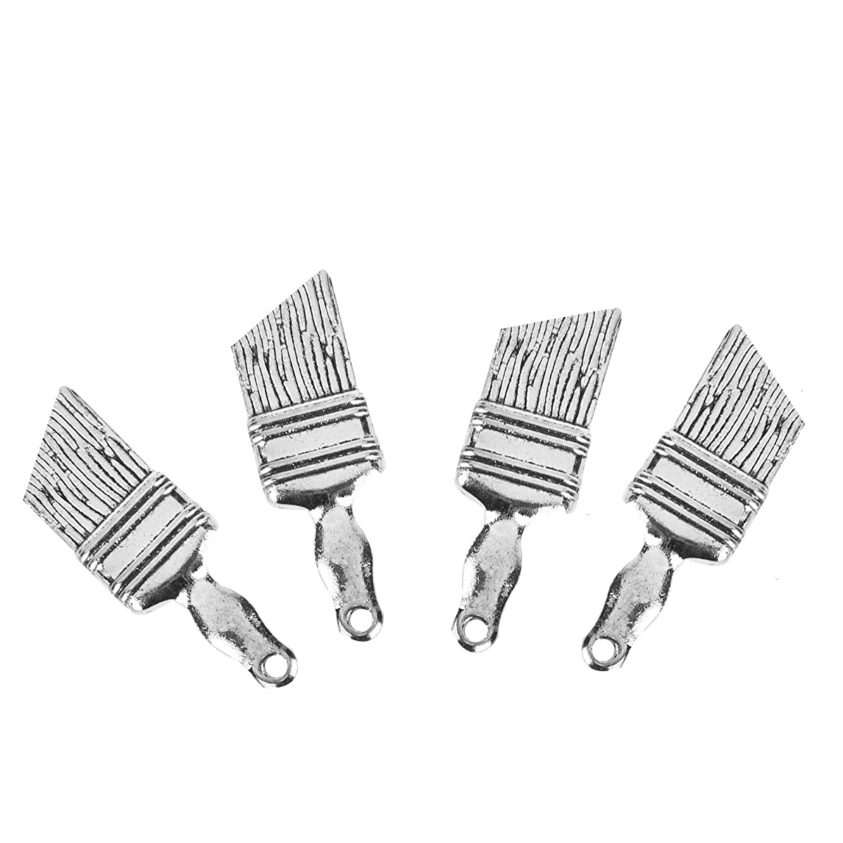 Monrocco 80 Pieces Antique Silver Tone Paint Brush Charms Tibetan Style Alloy Pendants Necklace Jewelry Makings
