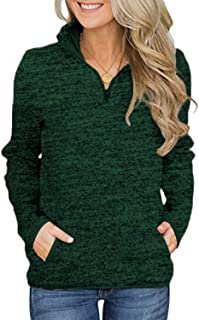 Womens 1/4 Zip Pullover Sweatshirt Long Sleeve Stand Collar Shirt with Pockets