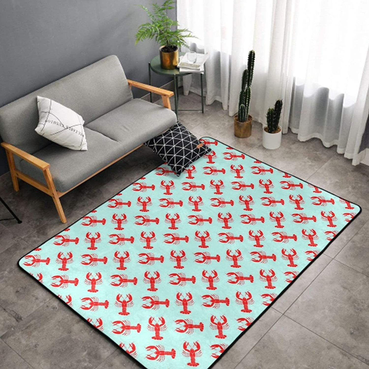 SWEET TANG Luxury Super Special SALE held Red Lobster Pattern Green Ranking TOP4 Rug Mint Kids Ro for