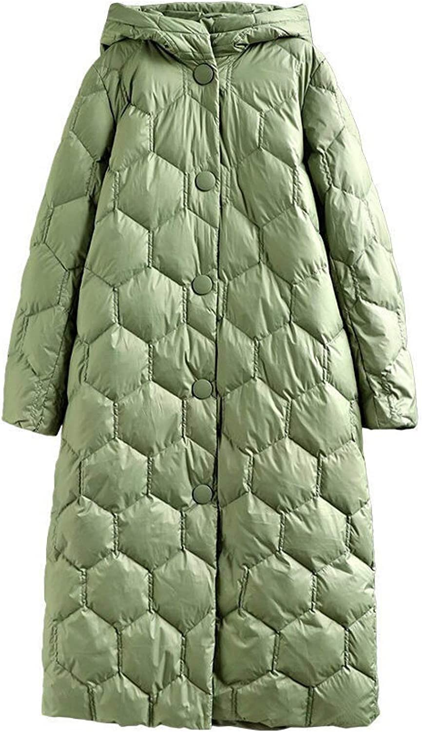 Ladies Long Puffer Jacket , Women's Insulated Hooded Jacket with Pockets