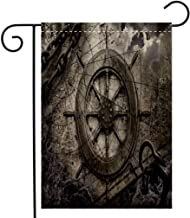 BEIVIVI Custom Double Sided Seasonal Garden Flag Vintage Navigation Background Illustration with Steering Wheel Charts Anchor Chains Welcome House Flag for Patio Lawn Outdoor Home Decor