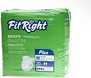 FitRight Plus Adult Diapers, Disposable Incontinence Briefs with Tabs, Moderate Absorbency, Medium, 32