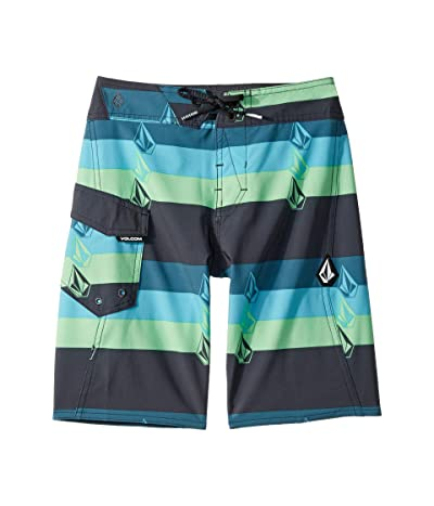 Volcom Kids Lido Liney Mod Boardshorts (Big Kids) (Asphalt Black) Boy