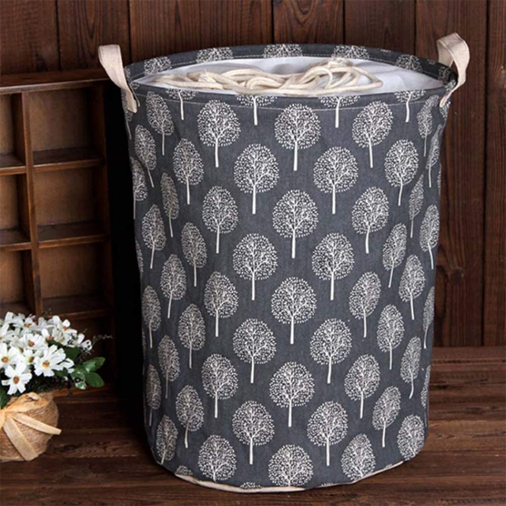 Pink HOSEN Cotton Laundry Basket 19.7 Large Size 1 Pack Waterproof Foldable Canvas Laundry Hamper Bucket with Handles for Storage Bin,Kids Room,Home Organizer