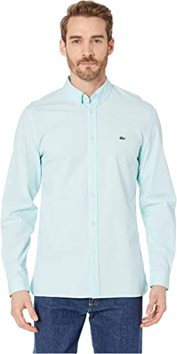 Long Sleeve Solid Poplin Stretch Button Down Collar Slim