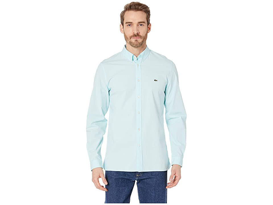 Lacoste Long Sleeve Solid Poplin Stretch Button Down Collar Slim (Aquarium) Men