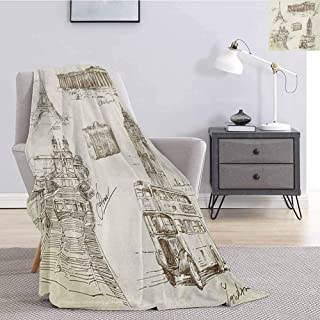 jecycleus Travel Children's Blanket Sketch Art Collection of Travel Over European Landmarks and Vintage Style Suitcase Lightweight Soft Warm and Comfortable W55 by L55 Inch Brown Cream
