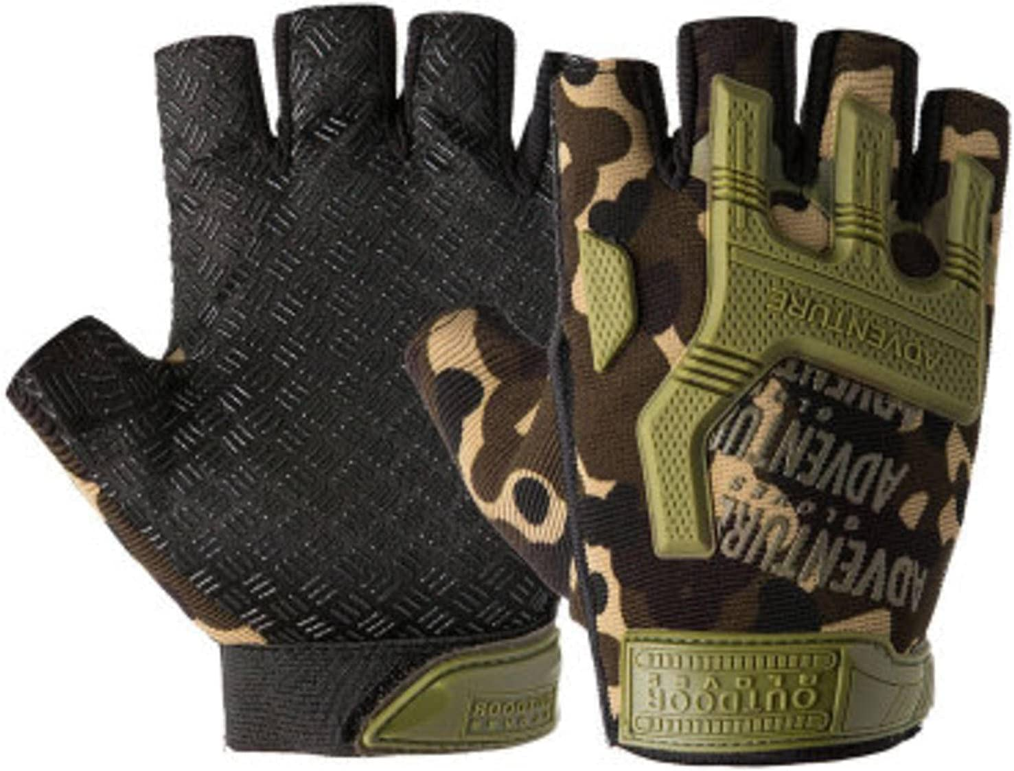 N\C Rubber Max 73% OFF Fingerless Gloves Protect Airsoft Indianapolis Mall Mo Paintball Riding