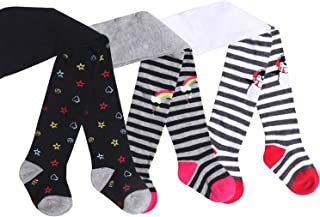 IMOZY Infant Cotton Tights- White Black Grey Stripes Penguin Rainbows Pantyhose for Newborns Infants Toddlers Baby Child