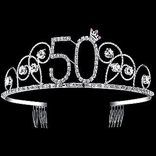 BABEYOND Crystal Birthday Tiara Crown Princess Birthday Crown Hair Accessories Happy 50th Birthday Crown Tiara for Women (50 Birth)