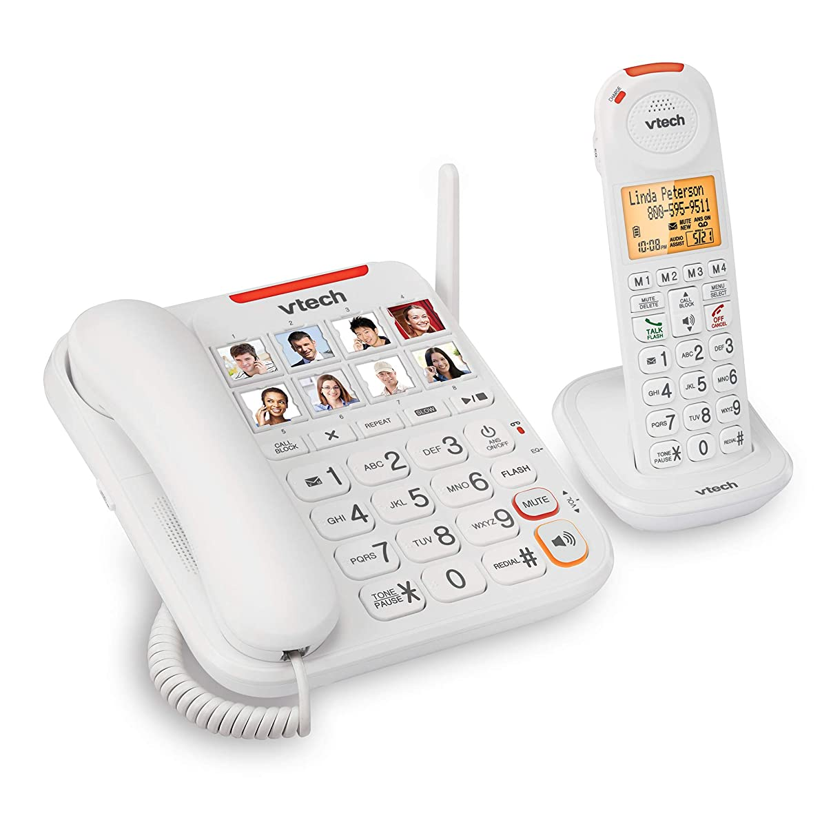 VTech SN5147 Amplified Corded/Cordless Senior Phone System with 90dB Extra-Loud Visual Ringer, Big Buttons & Large Display