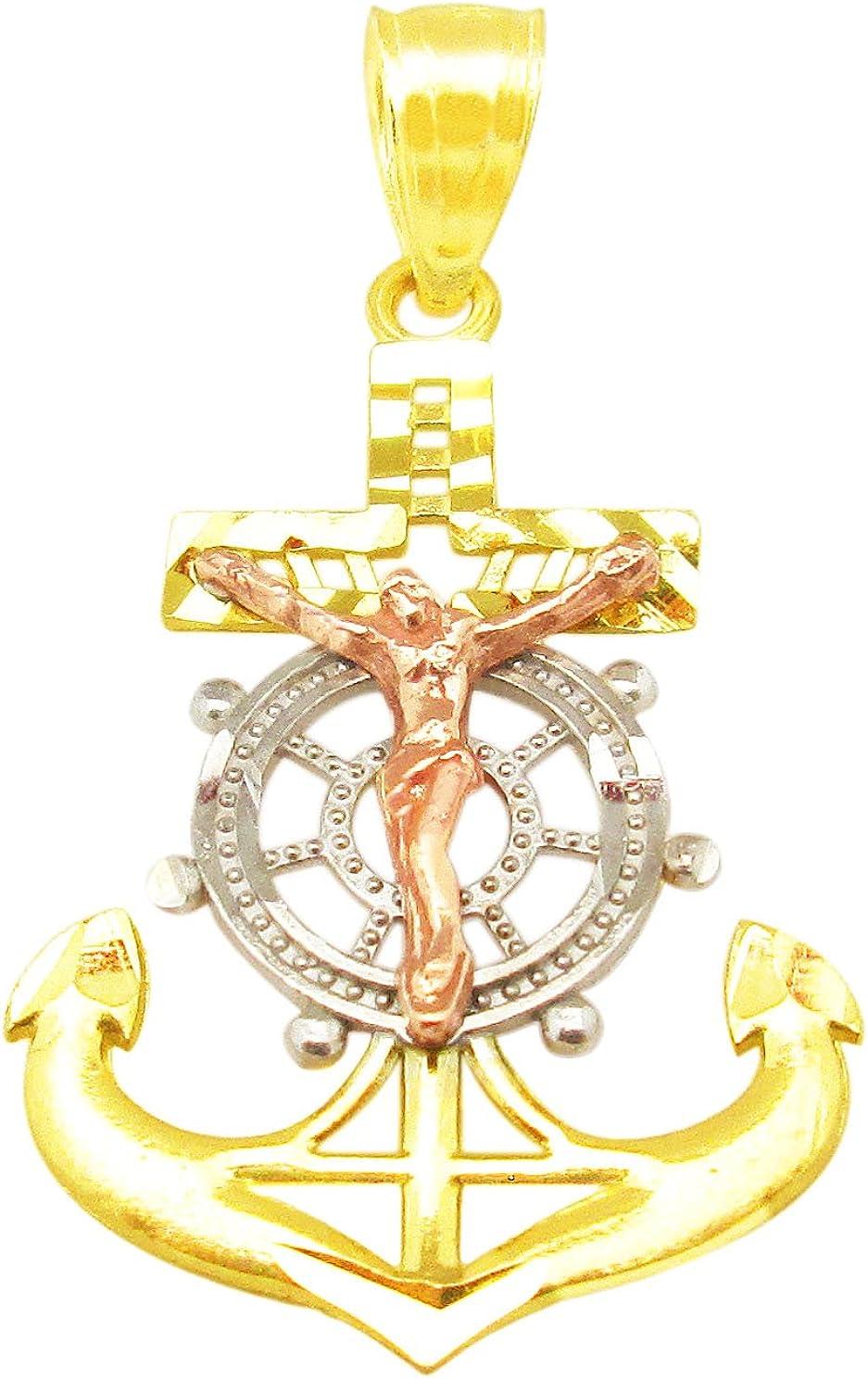 10K Tri Tone Gold Mariners Anchor Charm Cross Pendant