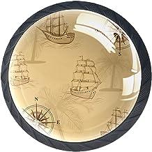 Ladeknoppen Ronde Kast Handgrepen Pull voor Thuiskantoor Keuken Dressoir Decorate,Oude Kaart Kompas Schepen Geel