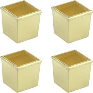 Quluxe 4 Pcs 1.41 Inch Table Foot Cover Cap, Zinc Alloy Square Furniture Leg Cover Floor Protector, Modern Style Table Chair Sofa Feet Cover- Gold