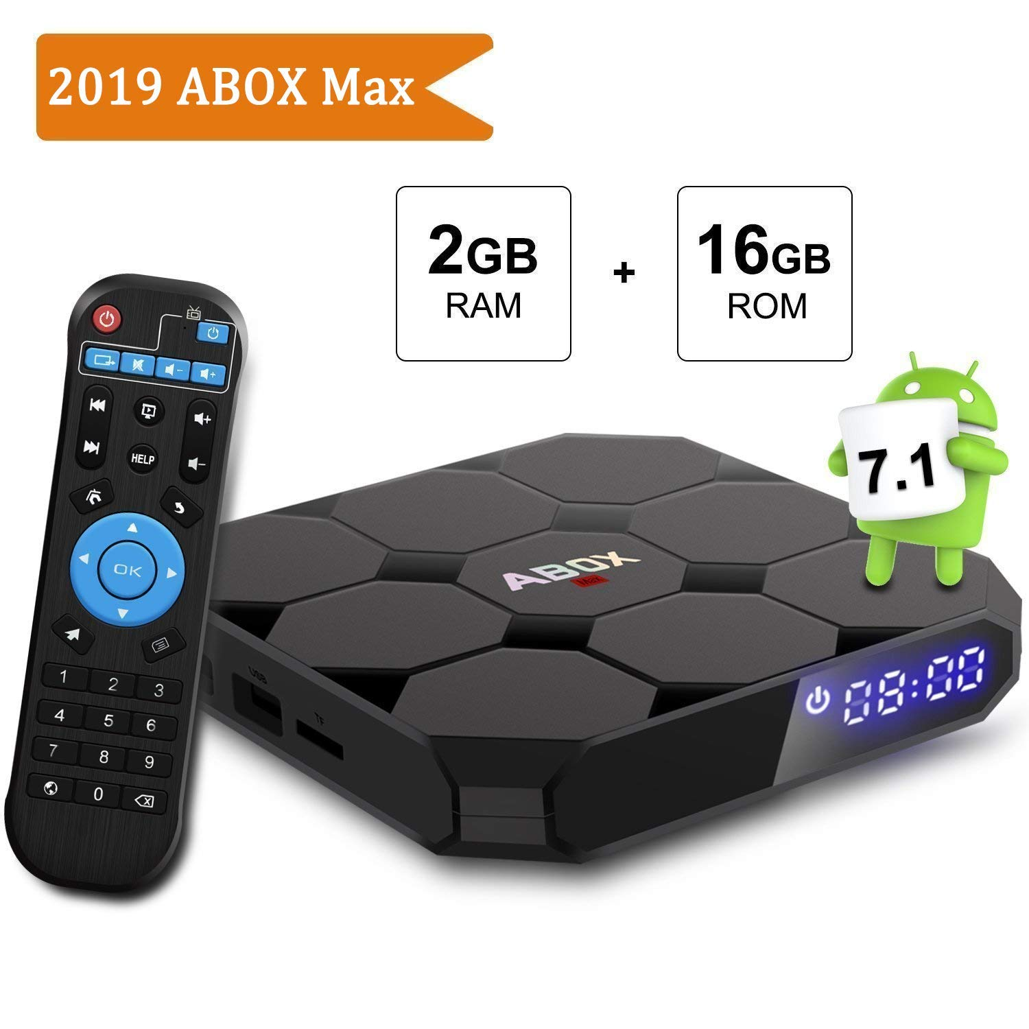 Android TV Box, ABOX A1 MAX Android 7.1 Smart TV Box de 2GB RAM+16GB ROM con BT 4.0 Soporta WiFi 2.4GHz /Full HD/ 4K H.265 Android Box: Amazon.es: Electrónica