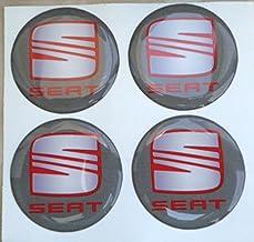 Adhesivos de resina tapacubos para Seat, color gris, de 60mm. Calidad 3M. Pegatinas para tuning en 3D (4unidades).