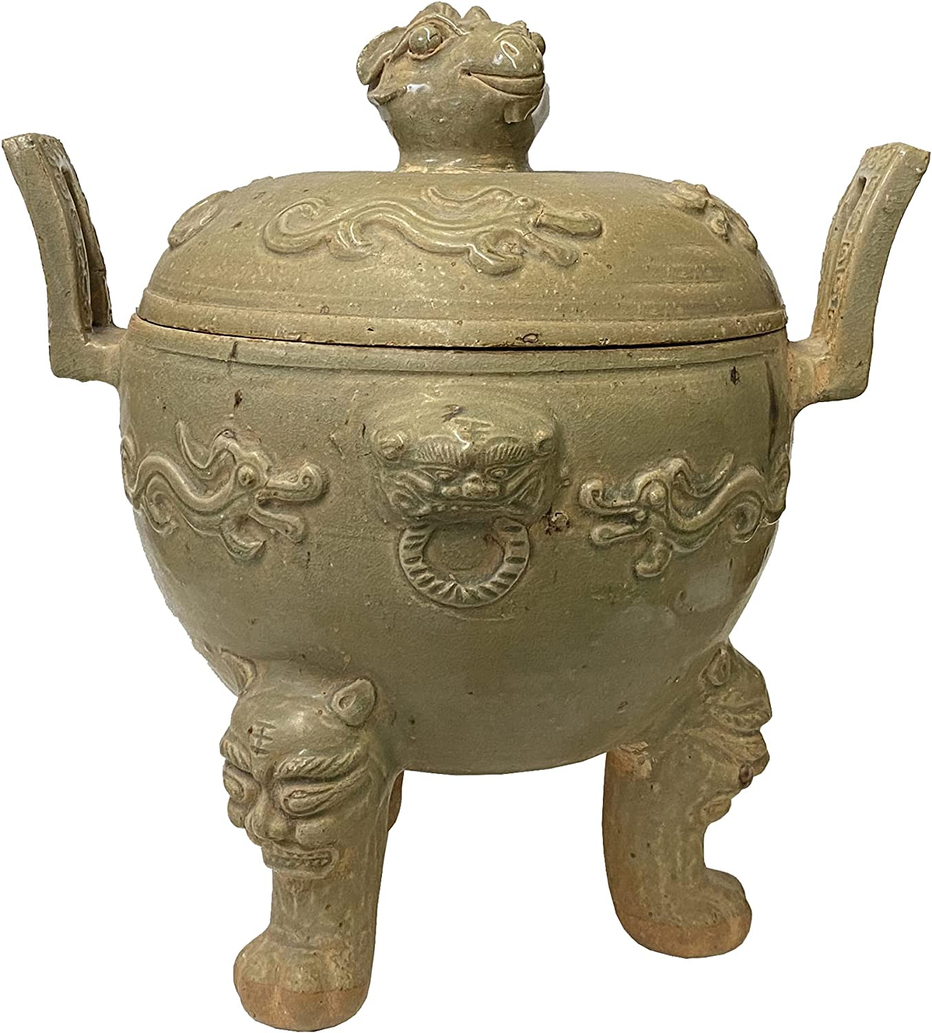 Chinese Limited time trial price Vintage Handmade Clay Pottery Dragon Holder Acs Pot Ding Japan's largest assortment