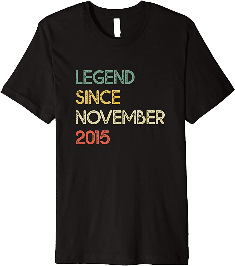 4th Birthday Gifts Vintage Retro Legend Since November 2015 Premium T-shirt