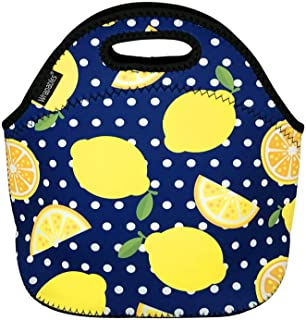 Wrapables Insulated Neoprene Reusable Lunch Bags, One Size, Lemons