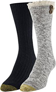 Gold Toe Women's Cable Button and Casual Crew Socks, 2 Pairs