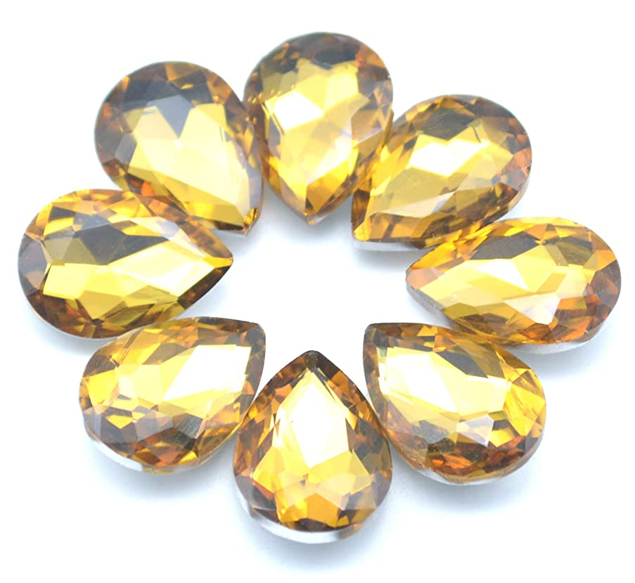 Catotrem Mixed Color Teardrop Shape Sew on Glass Crystal Diamante Rhinestone Craft 50pcs, 13x18mm(Yellow-50pcs)