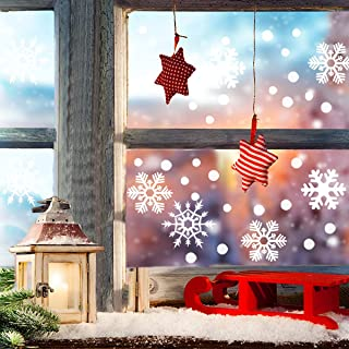 LAWOHO Christmas Snowflake Window Clings White Snowflakes Window Decals Wall Stickers Removable Christmas Window Decorations Ornaments Winter Snow Xmas Decal 348 PCS