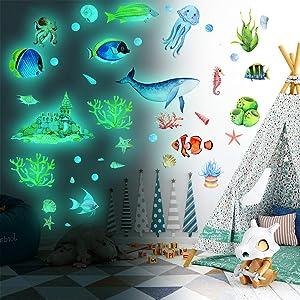 Glow in The Dark Wall Stickers, Self-adhesive Ocean Theme Luminous Fluorescent Underwater Animal Wall Decor Sticker DIY Fish Creature Wall Decal Murals for Baby Kids Kindergarten Nursery Living Room