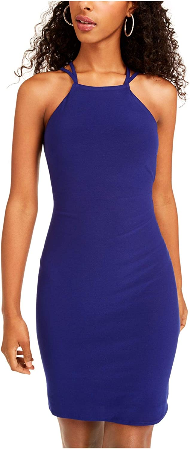 MORGAN & CO Womens Blue Zippered Sleeveless Halter Above The Knee Body Con Cocktail Dress Size 0