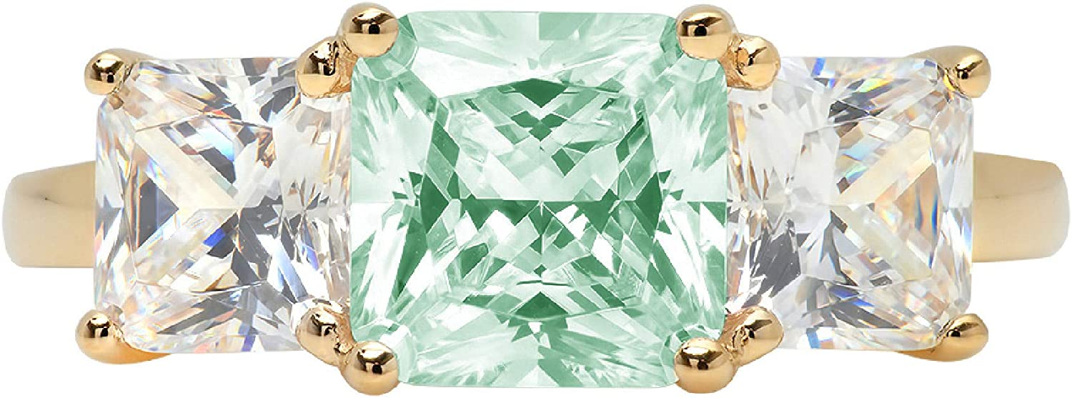 3.25ct Square Emerald Baguette cut 3 stone Solitaire Accent Flawless Blue Moissanite Ideal Engagement Promise Anniversary Bridal Wedding Designer Ring 14k Yellow Gold