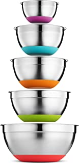 Klee 5-Piece Stainless Steel Colorful Mixing Bowls with Rubber Bottom, Set of 5