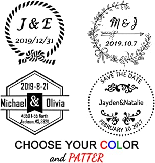 "Custom Stamp Wedding,Personalized Stamps Self Inking,1-5/8"" Diameter,Round Stamp for Wedding, Housewarming, Invitation or Family Gift"