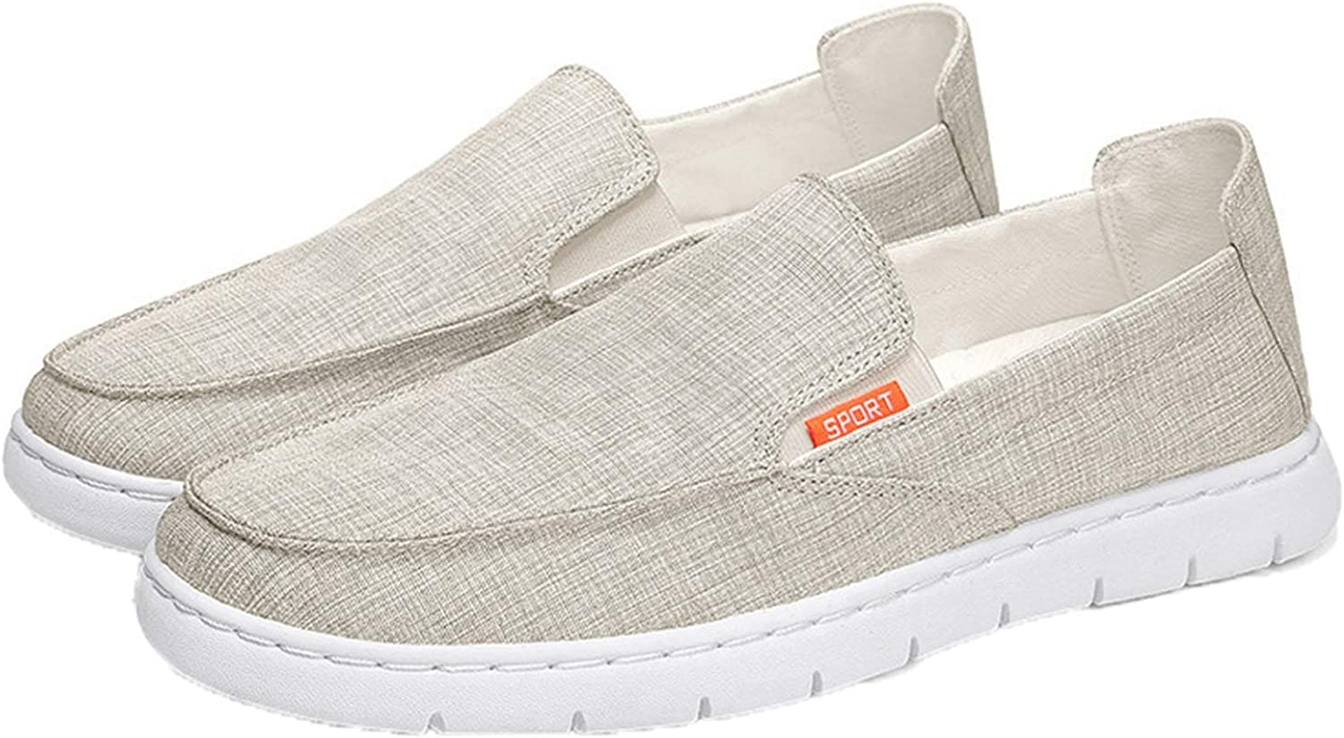 Canvas Shoes for Men Slip-On Low-Top Breathable Casual Shoes Anti-Slip Lightweight Solid Color Loafers