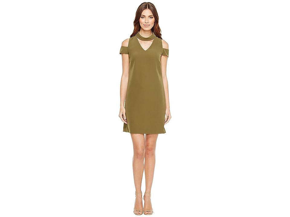 Tahari by ASL Crepe Cold Shoulder Shift Dress (Loden) Women