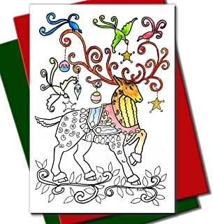 Art Eclect Coloring Christmas Cards for Adults and Children to Color (20 Cards With 20 Different Unique Designs, 10 Red and 10 Green Envelopes Included, Christmas Set B2)