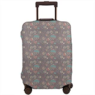 Travel Luggage Cover,Blossoming Bluebells Gardening Plants Flourishing Nature Suitcase Protector