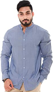 Champa Men's Regular Fit Cotton Viscose Sky Blue Full Sleeve Shirt