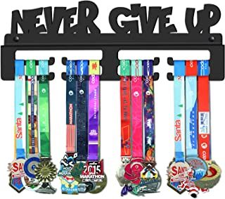 GENOVESE Never Give Up Medal Holder Display Hanger Rack Frame,Super Sturdy Black Steel Metal,Wall Mounted Medals