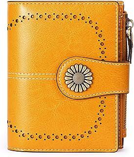 SENDEFN Small Women Wallet Genuine Leather Bifold Purse with ID Window
