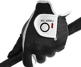 FINGER TEN Men's Golf Glove Rain Grip Black Grey Color Pack, Durable Fit Hot Wet All Weather, Left Hand Set Size Small Medium Large XL