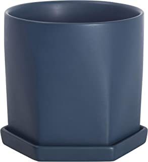 Sponsored Ad - Plant Pots Ceramic Planter 4.5 Inch Blue Flower Pot with Drainage Holes and Saucers