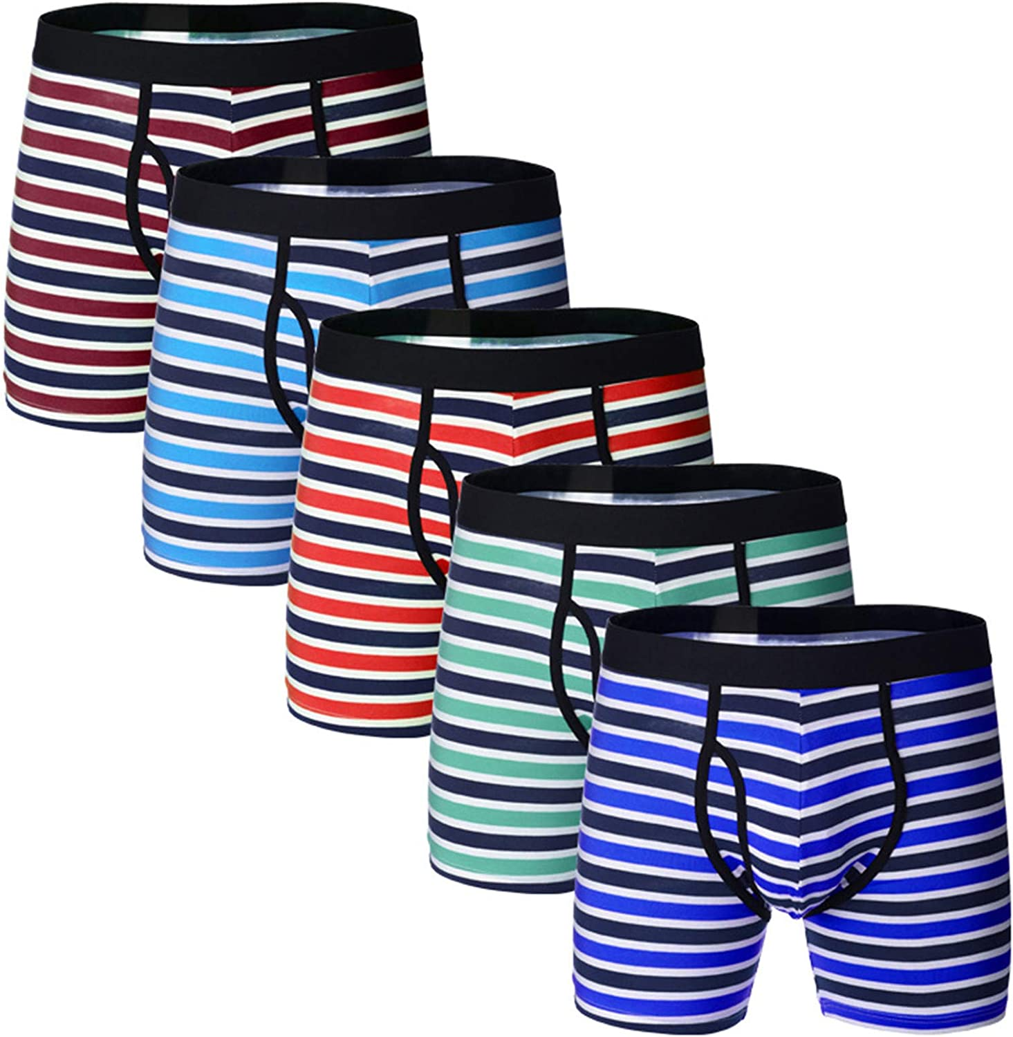 Clearance Men's Luxury Bamboo Boxer Underwear Ultra Soft Breathable Stripes Boxer Briefs Underpants Clothing (Multicolor 5pcs,Small)