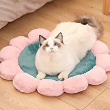 YUCHAO Round Flower Pet Cat Dog Plush Mat Pet Bed, Specification: 60cm(Pink) (Color : Green)