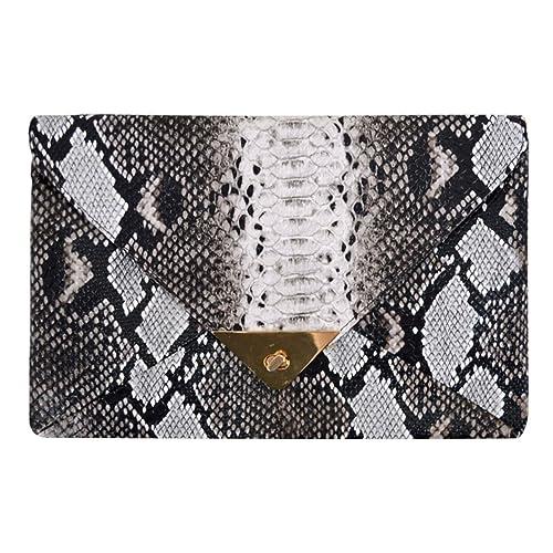 f1efc922ad2 Goodbag Boutique Lady Retro Fashion PU Handbag Faux Snakeskin Envelop  Clutch Chain Shoulder Crossbody Bag