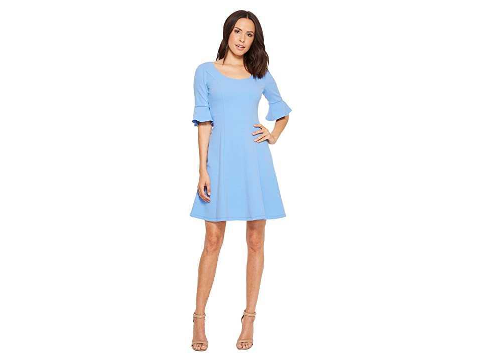 Donna Morgan Short Sleeve A-Line with Princess Seams and Flutter Sleeve (Blue Bonnet) Women